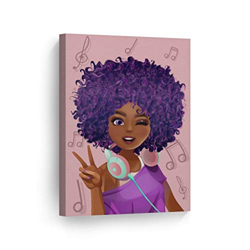 SmileArtDesign Purple Haired African Girl Earphones Pink Background Digital Painting Canvas Print Kids Room Wall Art African Art Nursery Home Decor Ready to Hang -%100 Made in The USA - 17x11