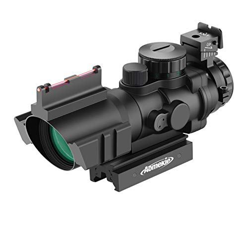 AOMEKIE Zielfernrohr 4x32mm mit Fiberoptic und 11mm/22mm Schiene Airsoft Red Dot Visier Sight Leuchtpunktvisier Rotpunktvisier für Jagd Softair und Armbrust