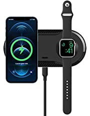 2 in 1 Wireless Charger, 20W Dual Wireless Charging Pad with iWatch Charger Pad for Apple Watch 6/5/4/3/2/SE, FDGAO 7.5W Qi Fast Wireless Charging Station for iPhone 11/12/XR/XS/X/8/8P, AirPods Pro/2