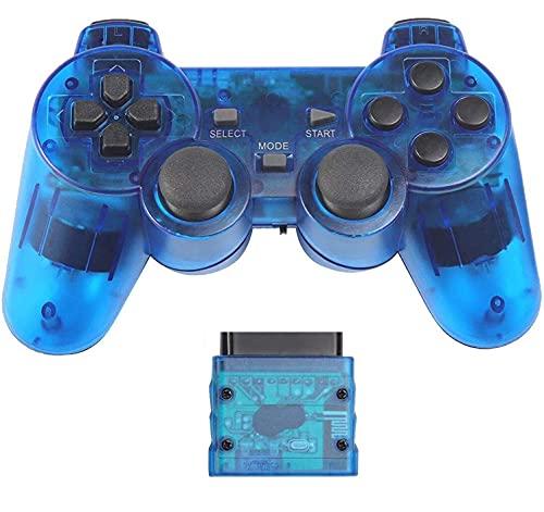 Fancyan PS2 用 ワイヤレスコントローラー DUAL SHOCK2 ゲームパット 互換対応 日本語説明書 付き (透明ブルー)