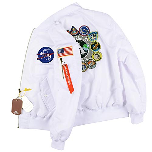 CPAI Giacca Bomber NASA MA-1 da Donna Patch per Ricamo Giacca da Baseball Impermeabile Antivento Sottile Giacca a Vento XXS ~ 2XL,Bianca,L