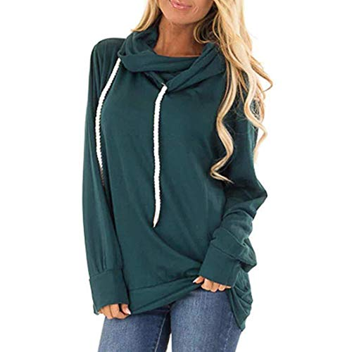 XWLY Hoodie Damen Herbst Oberteile Damen Sport Und Freizeit Lose Bequeme Baumwolle Langarm Damen Neue Winter Mode All-Match Retro Elegant Chic Classic Pullovers Damen Green_ XL