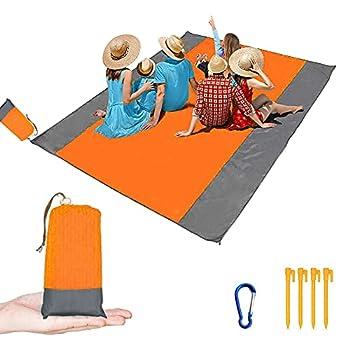 CUIFULI Grand Pique Nique Tapis Extérieur Printemps été Orange Et Gris Ensemble 6 Tapis De Plage Pratique pour Adultes, Plage, Camping, Randonnée Pédestre étanche Au Sable