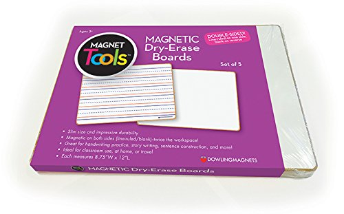 Dowling Magnets 735206 Magnetic Dry Erase Boards - Double-Sided Ruled/Blank (Pack of 5)