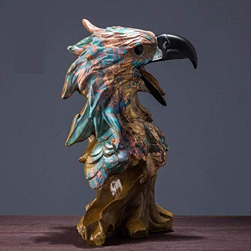 JYHH Estatua Adornos Esculturas Cabeza Águila Madera Figura Decorativa Resina Pintura Artesanía...