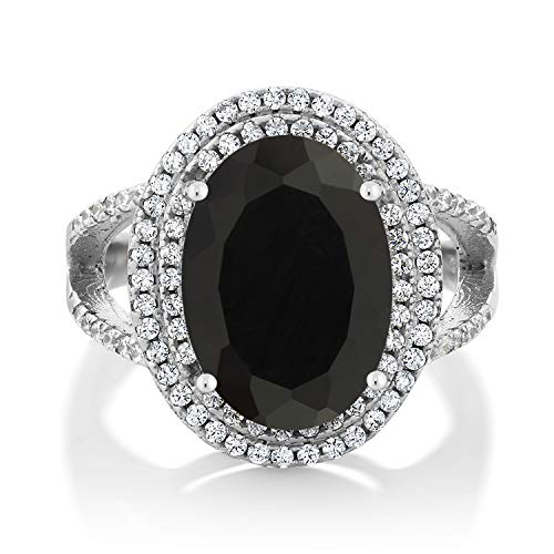 GemStoneKing 6.44 Carat 14X10MM Oval Natural Genuine Black Onyx Women's Ring Solid 925 Sterling Silver Cocktail Ring , Black and White , (SIZE 7)