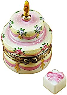 French Limoges Boxes Boutique TWO LAYER CAKE WITH REMOVABLE PORCELAIN PRESENT - LIMOGES BOX AUTHENTIC PORCELAIN FIGURINE FROM FRANCE