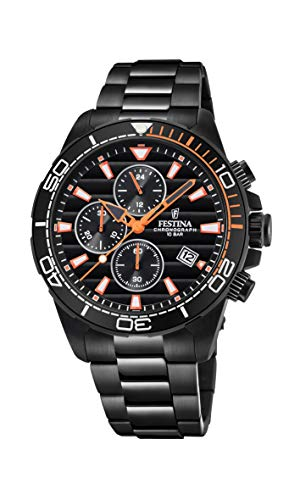 Festina Herren Chronograph Quarz Uhr mit Edelstahl Armband F20365/1