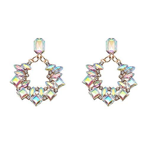 Kreative Damen-Ohrringe, geometrische Ohrringe, Glitzer, Strass, Kreolen, Ohrstecker, Geschenk, mehrfarbig