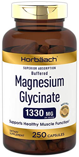 Magnesium Glycinate 1330mg | 250 Capsules | Buffered and Chelated | Non-GMO, Gluten Free | by Horbaach