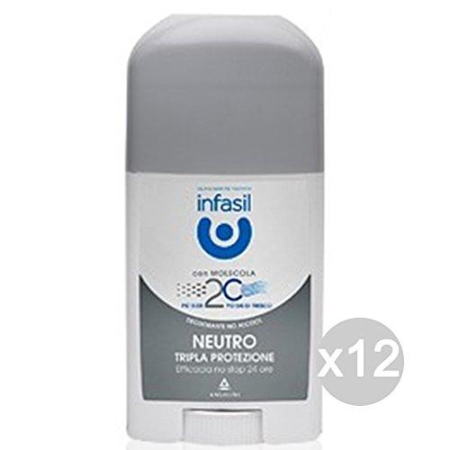 Infasil - Juego de 12 desodorantes en barra de triple protez.neutro blanco para el cuidado y la higiene del cuerpo
