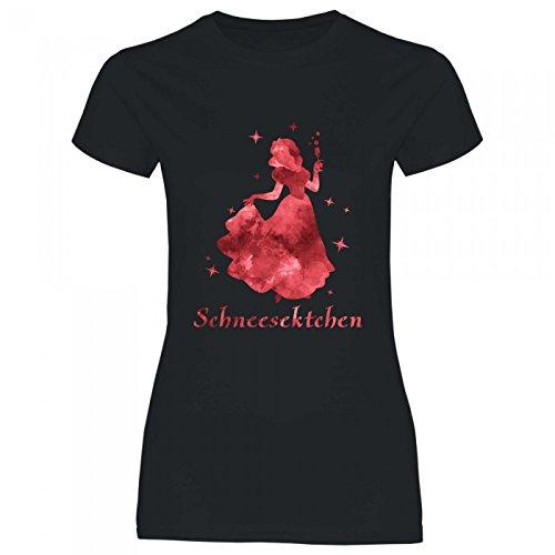 Royal Shirt a64 Damen T-Shirt Schneesektchen | Sekt Prinzessin Alkohol Party JGA Girly feiern Malle, Größe:L, Farbe:Black