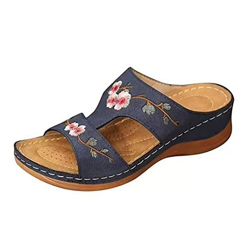 Starmood Sandalias de verano para mujer, sandalias de verano, sandalias de diapositivas cómodas, sandalias bordadas con flores, hermosas zapatillas de tacón bajo para mujer