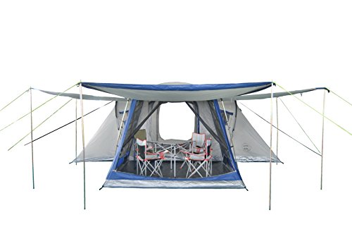 NEUMAYER-ASG - Familien-Zelt XXL - Modell Big Easy - 4 bis 8-Personen-Zelt - 5,50m x 4,6/2,6m - 19,5 qm Grundfläche - 2/3 getrennte Schlafkabinen + Aufenthaltsraum - 1,90m Stehhöhe