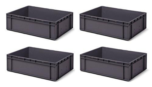 Volumen: 29 Liter LxBxH Transport-Stapelkasten TK432-0 Traglast: 45 kg made in Germany grau Industriequalit/ät aus PP lebensmittelecht 4 Stk 400x300x320 mm