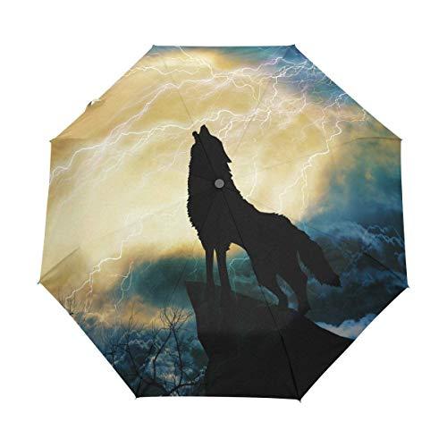 AOTISO Wolf heult zum Gewitter 3 Falten Auto Open Close Regenschirm, 99% UV-Schutz
