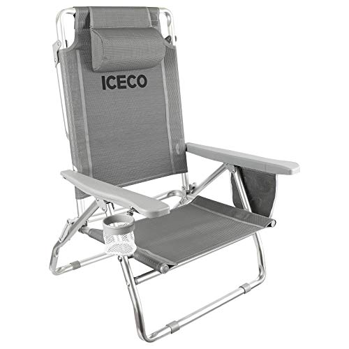 ICECO Beach Chairs for Adult, 5-Position Lay Down Folding Aluminium Camping Chair Durable Lightweight Portable with Cup Holder Storage Bag for Men Women Outdoor Beach Picnic Hiking