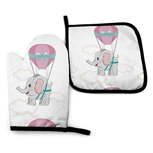 Baby Elephant - Guantes para horno y porta ollas con mosca de globo aerostático para animales, almohadillas calientes resistentes con guantes de poliéster para barbacoa para cocina