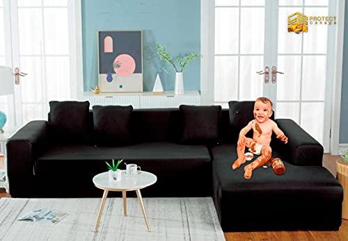 Protect canapé,2 pièces Housse de canapé,Housse de Canapé Angle avec Accoudoirs,Housse canape 3 Places,Housse canapé Extensible Anti poussière;avec 4 Taies d'oreiller