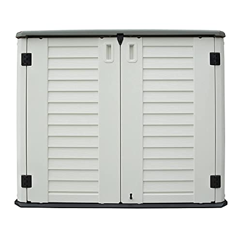 TOUGH MASTER 730L Garden Shed with Storage Shelves,Plastic Waterproof Outdoor Storage for Bins, Garden Tools, Outdoor Toys (Beige & Grey) - 127 x 74 x 104 cm (Shed)