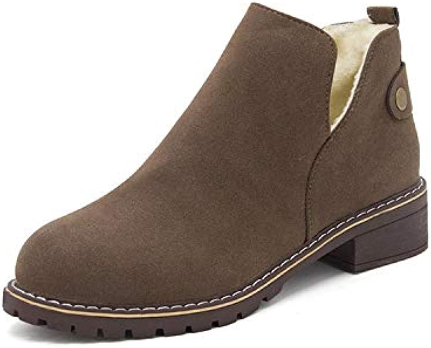 LingGT Oxford Faux Suede Women Boots Button Fur Lined Ankle Booties Flats (color   Khaki, Size   CA 8)