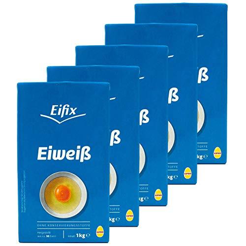 Eifix - 5er Pack Eiweiß flüssig hergestellt aus ca. 30 Eiern 1 kg Packung - Eipro flüssiges Eiklar Eiweiss ohne Konservierungsstoffe ideal zum Kochen und Backen (pasteurisiert Egg White)