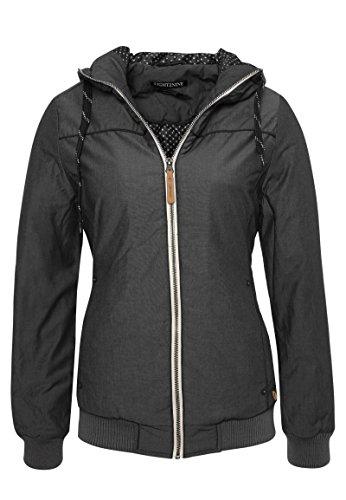 Eight2Nine Basic Damen Winterjacke mit Kapuze | Sportliche Jacke im Melange Look Dark-Grey M