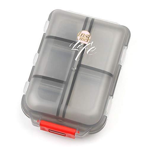 Spessn Pillenbox Organizer, Klein Einfach Pillendose Vitamin Caddy Tablettenbox mit 10 Fächer für Reise/Urlaub/Outdoor Sport - MEHRWEG (Durchsichtig Schwarz)