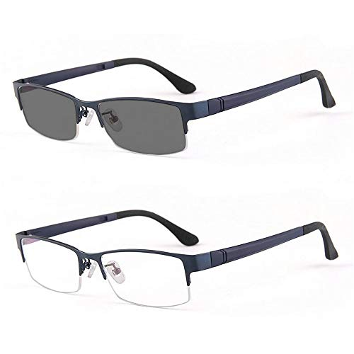MINCL/Photocromic Lens Transition Sunglasses Business Frames Reading Glasses (blue-photochromatic