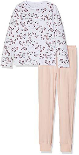 NAME IT Mädchen NKFNIGHTSET Flowers NOOS Zweiteiliger Schlafanzug, Mehrfarbig (Weiß Bright White), 128
