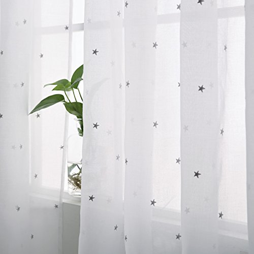 Deconovo White Rod Pocket Voile Drape Grey Star Embroideried Sheer Curtains for Bedroom, 52x84