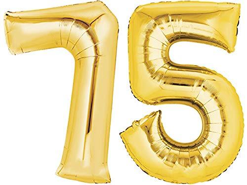 TopTen Folienballon Nummer 75 Gold XXL über 90 cm hoch - Zahlenballon / Luftballon für Geburstagsparty, Jubiläum oder sonstige feierliche Anlässe (Zahl 75)
