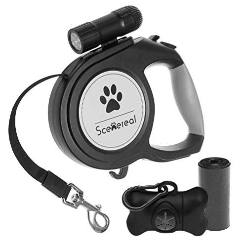 SCENEREAL Heavy Duty Retractable Dog Leash 26 FT with LED Flash Light & Poop Bag Dispenser for up to 110 LB Small Medium Large Dogs Outdoor Walking & Training