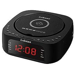 Lukasa Bluetooth CD Player Tabletop Boombox Stereo Clock Wireless Charging,Home Digital FM Radio Dual Alarm Clock Top-Loading Disc Players USB AUX Sleep Timer (Black)