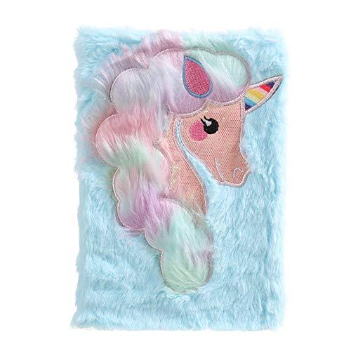 Cuaderno de unicornio arcoíris para niños, diario de felpa para niñas, adolescentes, diario difuso, bloc de escritura A5, con rayas, 160 páginas