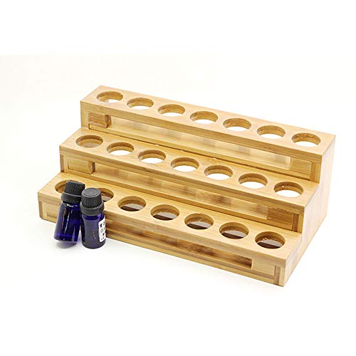 POFET Estante de almacenamiento de aceites esenciales, 3 niveles de aceites esenciales, soporte de exhibición para botellas de 30 ml, madera de bambú