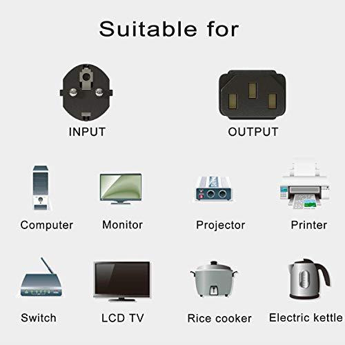 FSKE Stromkabel Netzkabel Eurostecker CEE 7/7 SCHUKO-C13 stecker kable 3 polig 5m Kaltgerätekabel für PC,Monitor,Drucker, PS3 / PS4 PRO, Scanner,Fernseher