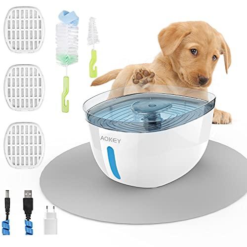 AOKEY Fontaine à Eau pour Chat, Fontaine d'eau Potable pour Chat avec 3 Filtres de Remplacement et Coussin Etanche,