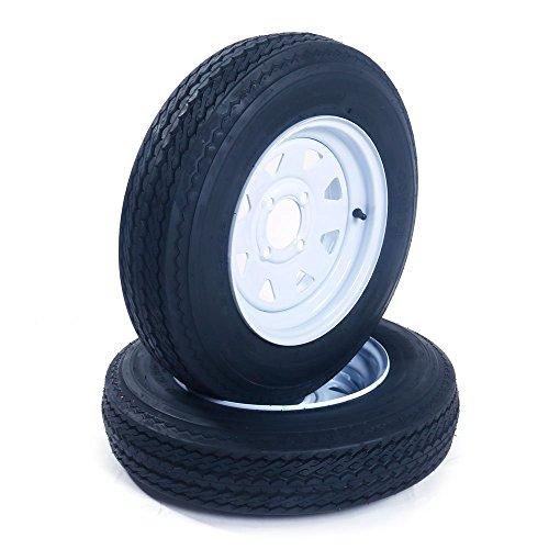 "Set of 2 Trailer Tires & Rims 5.30-12 530-12 5.30x12 12"" LRB 4 Lug/4"" Hole Bolt White Spoke Wheel"