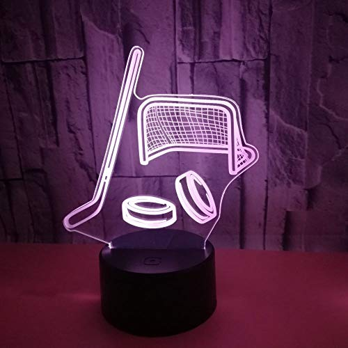 Luz Nocturna Led Palo De Hockey Sobre Hielo Luz De Noche 3D 16 Colores Estéreo Lámpara De Mesa Dormitorio Cabecera Bebé Sueño Luz Ahorro De Energía,Niños...