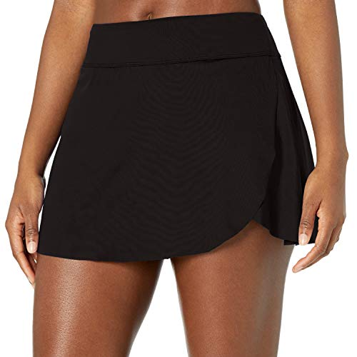 24th & Ocean Women's Plus Size Petal Skort Bikini Swimsuit Bottom, Black//Solid, 20W