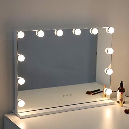 WAYKING Hollywood Miroir de maquillage éclairé avec lumières LED, contrôle tactile, grand miroir cosmétique avec 12 ampoules, plateau de table Blanc