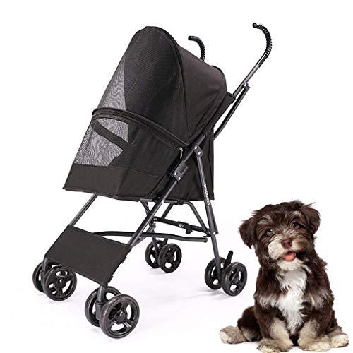 ADHW Passeggini per passeggini per Cani di Piccola Taglia a 4 Ruote, Passeggini Pieghevoli Leggeri per Animali da Viaggio Passeggino per Cani di Piccola Taglia e Cani Fino a 10 kg, Accessori p.