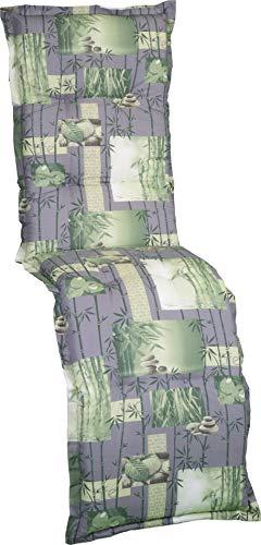 Gartenstuhlauflage Sitzkissen Polster Stuhlkissen für Relaxstuhl in grün grau mit Bambus und Gräser Motiven