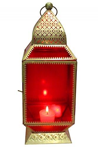 Orientalische Laterne aus Metall & Glas Aylin rot 39cm | orientalisches Windlicht | Marokkanische Glaslaterne für innen | Marokkanisches Gartenwindlicht für draußen als Gartenlaterne