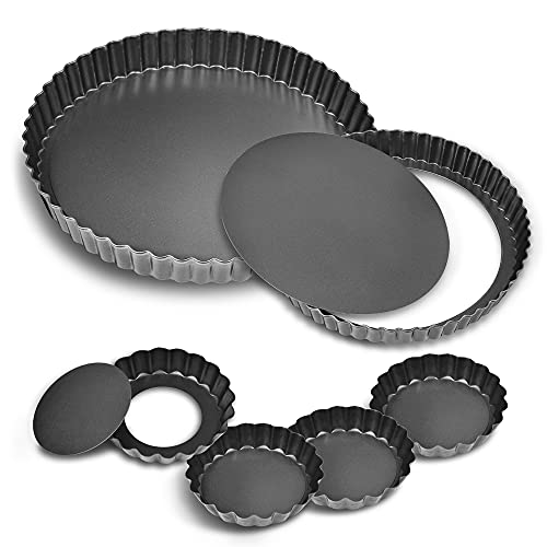 11Inch, 9 Inch and 4 Inch Tart Pan with Removable Bottom, 2 Pcs Large Size Quiche Pan and 4 Pcs Small Size Pie Pan, Non-Stick Baking Pan (Set of 6)