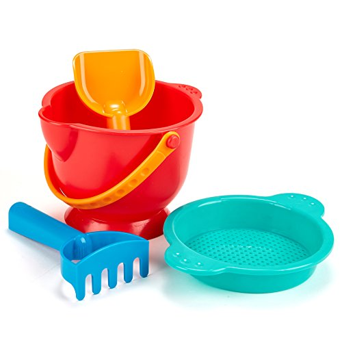Hape Beach Basics Sand Toy Set Including Bucket Sifter Rake and Shovel Toys Multicolor