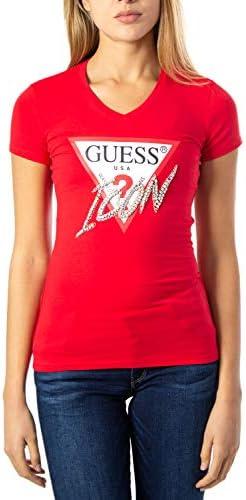 Guess Vn Icon tee Camiseta de Manga Corta Rojo para Mujer