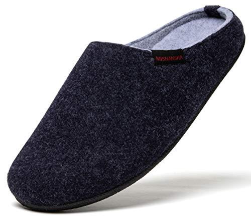 Mishansha Warm Gefüttert Filzpantoffeln Damen FlizHausschuhe Damen Pantoffeln Unisex Winter Slippers Blau 39 EU