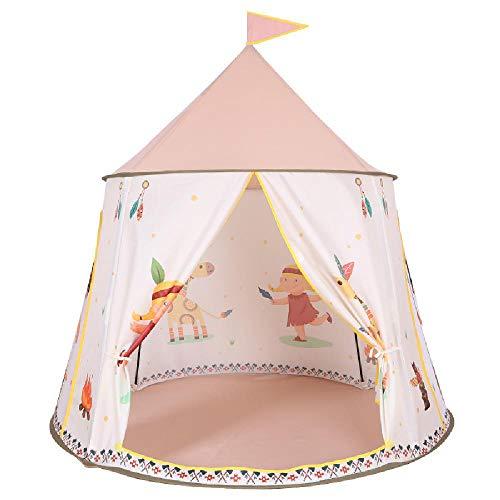 XWQYY Childrens Indoor Teepee Outdoor Fun Spiele Indianer Stil Zelt Kinder Moskitoschutznetz Einfache Installation Princess Castle Play House,Pink